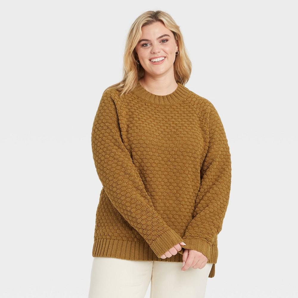 Top Women's Plus Size Textured Crewneck Pullover Sweater - Ava & Viv™