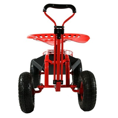 Genial Rolling Garden Cart With Extendable Steering Handle, Swivel Seat And  Planter Basket   Red   Sunnydaze Decor : Target