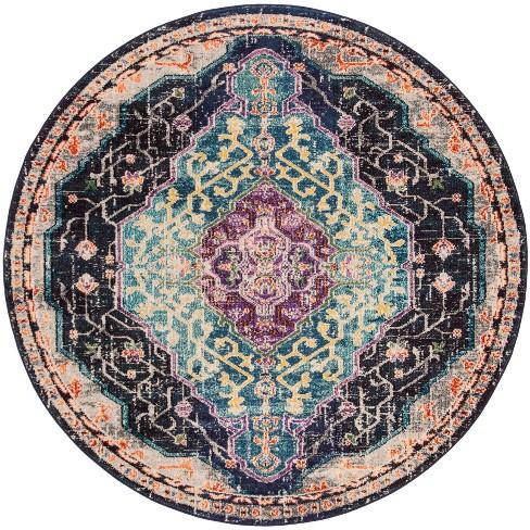 6 7 X6 7 Floral Loomed Round Area Rug Black Blue Safavieh Target