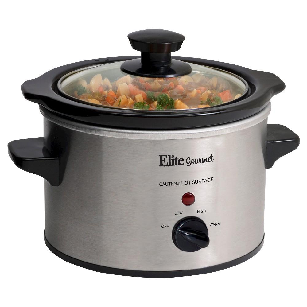 Elite Gourmet Stainless Steel 1.5-Qt. Mini Slow Cooker, Medium Silver