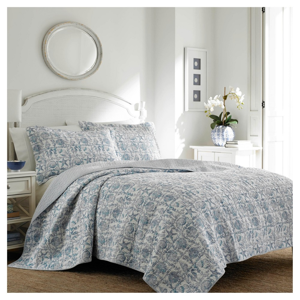 Periwinkle Blue Bettina Quilt Set (Full/Queen) 3-pc - Laura Ashley