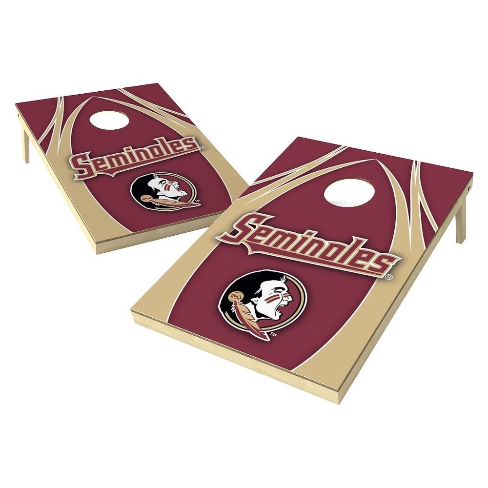 Florida State Seminoles Wild Sports 2' x 3' V Logo Design Tailgate Toss Platinum Cornhole Set