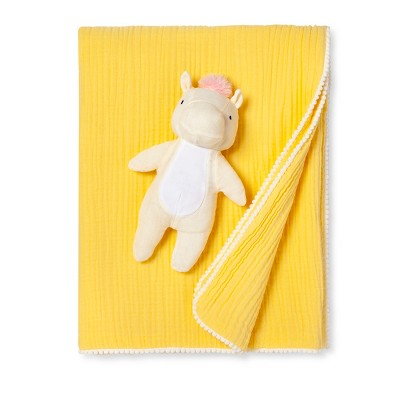 Gauze Baby Blanket & Plush Unicorn - Cloud Island™ Rose Yellow