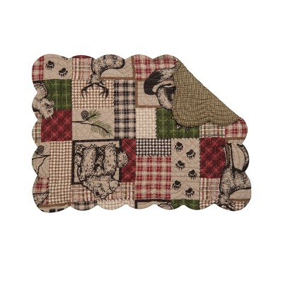 C&F Home Caleb Rustic Lodge Cotton Quilted Rectangular Reversible Placemat Set of 6