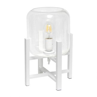 Wood Mounted Table Lamp with Glass Cylinder Shade White - Simple Designs
