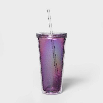 24oz Plastic Iridescent Tumbler with Straw - Sun Squad™