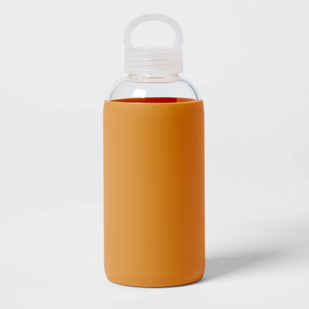 18oz Borosilicate Glass Water Bottle With Pp Lid And Silicone Sleeve Sun Orange Room Essentials 8482