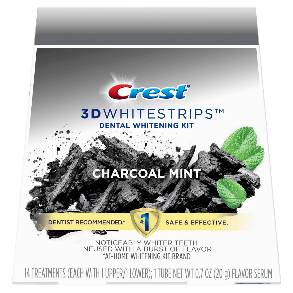 Image of Crest 3D Ingredients Charcoal Whitestrips - 28 Whitestrips + 1 Tube of Flavor Serum