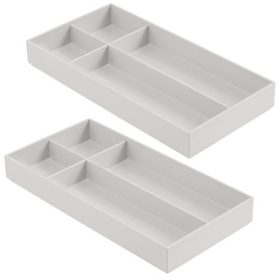 mDesign Plastic Makeup Vanity Drawer Organizer Tray, 4 Sections