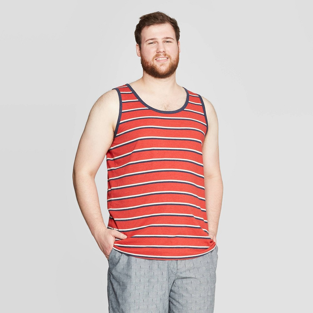 d7eb0c7cf39 Mens Big Tall Striped Scoop Neck Tank Top Goodfellow Co Red Velvet 3XB