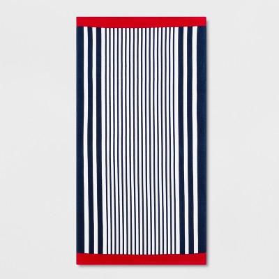 Stripe Beach Towel Blue/Red - Sun Squad™