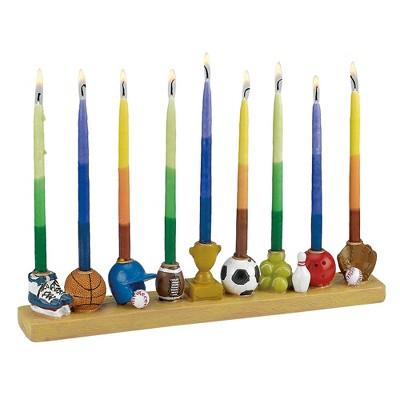 "Rite Lite 12"" Hanukkah Sports Themed Hand Painted Menorah - Brown/Blue"