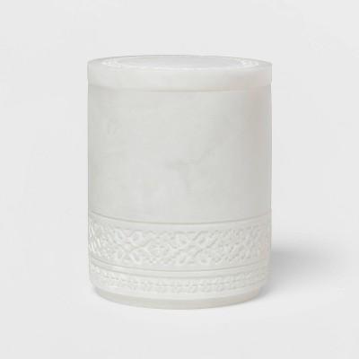 Carved Alabaster Resin Canister White - Threshold™
