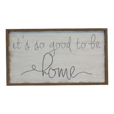 Wood  Home  Wall Sign Panels Natural White 20  x 36  - VIP Home & Garden