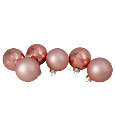 "Northlight 6ct Shiny and Matte Baby Pink Glass Ball Christmas Ornaments 3.25"" (80mm)"