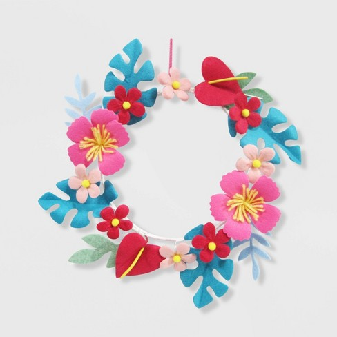 Tropical Floral Valentine's Wreath - Spritz™ - image 1 of 1