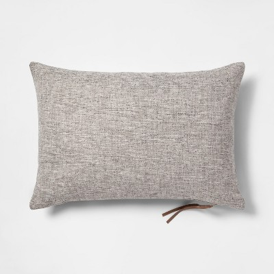 Woven With Exposed Zipper Lumbar Throw Pillow Gray - Project 62™