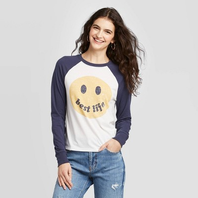 Women's Smiley Face Best Life Long Sleeve T Shirt   Zoe+Liv (Juniors')   Ivory by Zoe+Liv