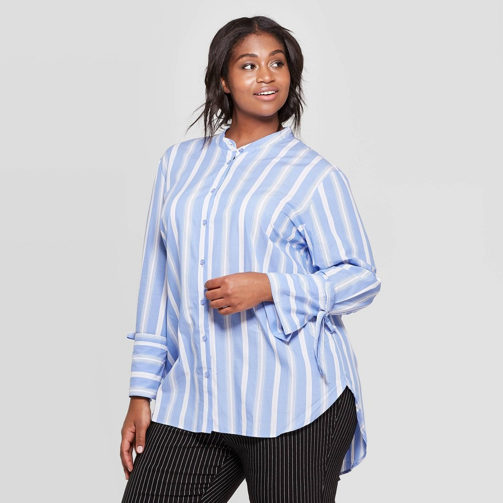 Women's Plus Size Striped Long Sleeve V-Neck Button-Up Boyfriend Shirt - Who What Wear Blue/White 3X