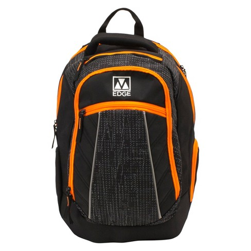 "M-Edge 20"" Commuter Backpack with Built-in 6000 mAh Portable Charger - Black/Orange - image 1 of 9"