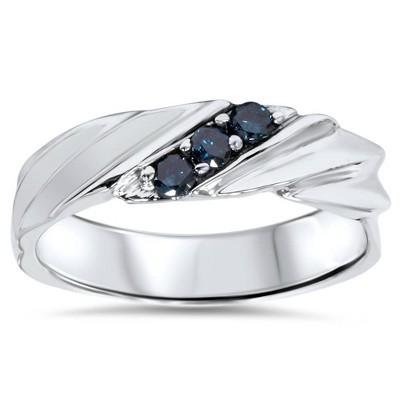 Pompeii3 1/10ct Treated Blue Diamond Mens Three Stone Wedding Ring 14K White Gold