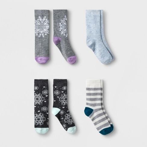 Girls' 4pk Snow Flake Crew Socks - Cat & Jack™ Gray/Blue - image 1 of 1