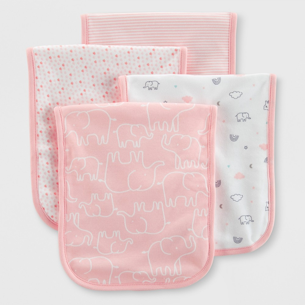 Image of Baby 4pk Burp Cloths - Just One You made by carter's One Size, Pink