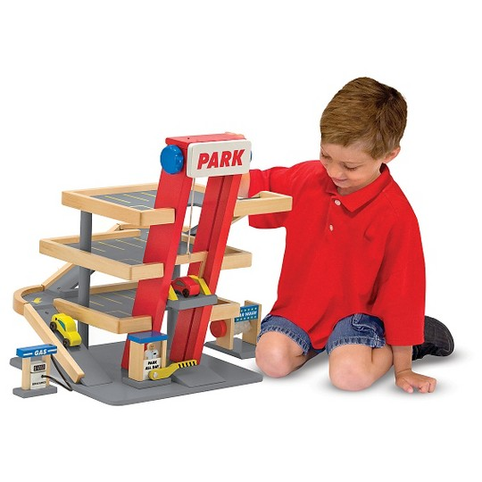 Melissa & Doug Deluxe Wooden Parking Garage Play Set image number null