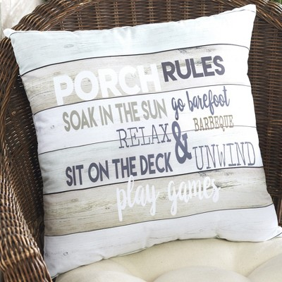 """Lakeside Decorative Porch Rules 16"""" Throw Pillow with Driftwood Aesthetic"""