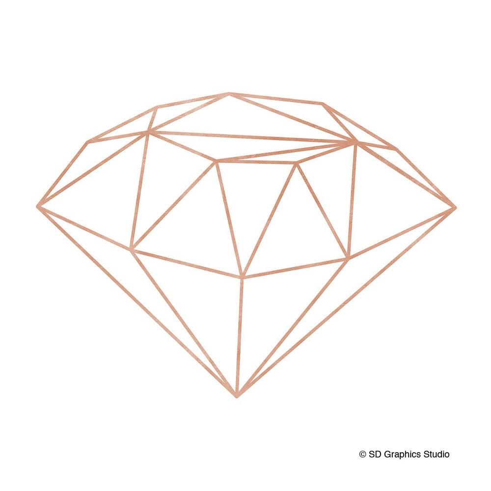 Image of 4pk Ceramic Rose Gold Geo Diamond Print Coasters - Thirstystone
