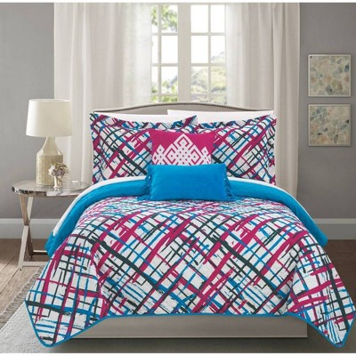 Chic Home Design Twin 4pc Shane Quilt & Sham Set Pink