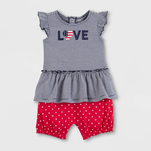 Baby Girls' Striped Dotted Romper - Just One You® made by carter's Blue - image 1 of 1