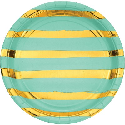 "Fresh Mint Green and Gold Foil Striped 9"" Paper Plates - 8ct"
