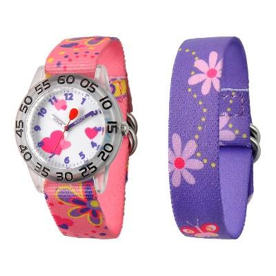 Disney Girls' Red Balloon Plastic Watch Interchangeable Strap - Pink/Purple
