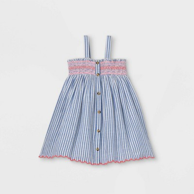 Toddler Girls' Striped Smocked Button-Front Tank Dress - Cat & Jack™