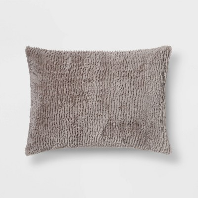 Standard Faux Fur Solid Pillowcase Light Gray - Room Essentials™