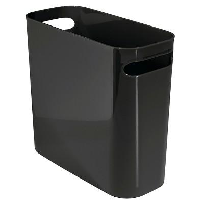 InterDesign Una Plastic Rectangular Wastebasket - Black (10 )