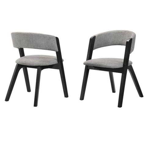 Set Of 2 Rowan Upholstered Dining Chairs Black Finish Armen Living Target