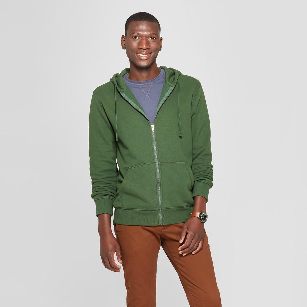 Men's Standard Fit Long Sleeve Fleece Full Zip Hoodie - Goodfellow & Co Banyan Tree Green L