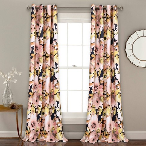 Set Of 2 52 X84 Floral Watercolor Room Darkening Window Curtain Panels Lush Décor Target