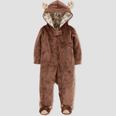 Baby Boys' Pram Moose Footed Snowsuit Jacket - Just One You® made by carter's Brown 3M