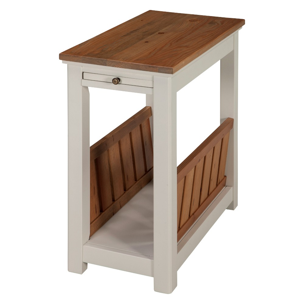 Savannah Chairside Magazine End Table With Pull Out Shelf Ivory With Natural Wood Top - Bolton Furniture