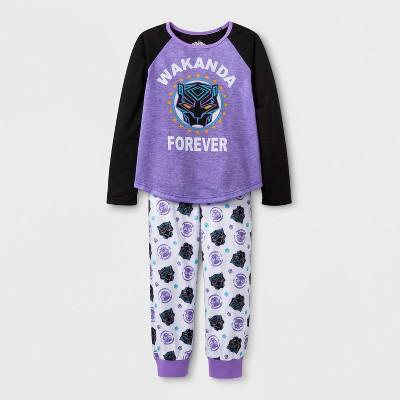 8d48a48dc282 Girls  Marvel Black Panther 2pc Pajama Set - Purple   Target