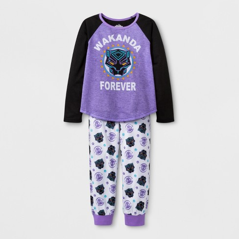 0ff44f11046d Girls  Marvel Black Panther 2pc Pajama Set - Purple   Target