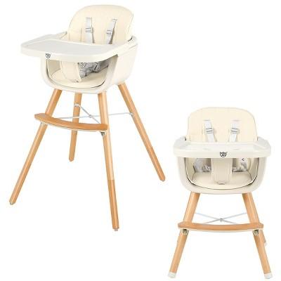 Babyjoy 3 in 1 Convertible Wooden High Chair Baby Toddler Highchair w/ Cushion GrayBeigeYellow