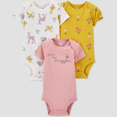 Baby Girls' 3pk Woodland Short Sleeve Bodysuit - Just One You® made by carter's Pink/White/Gold 6M