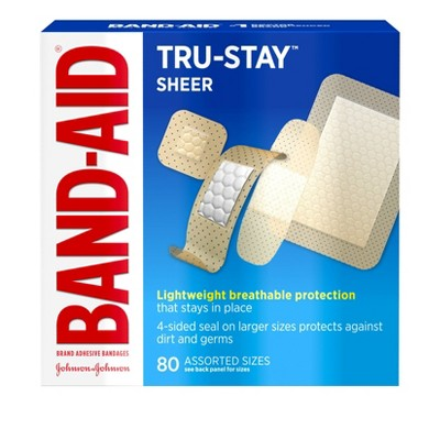 Band-Aid Brand Tru-Stay Sheer Strips Adhesive Bandages Assorted Sizes - 80 ct