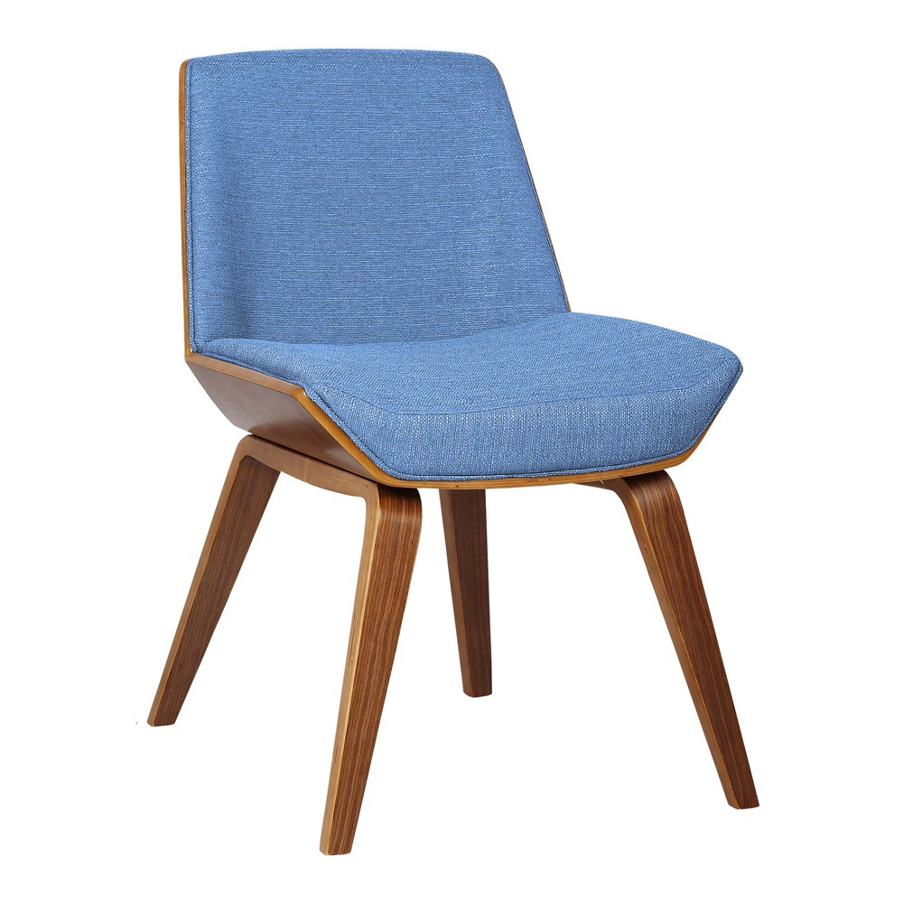 Image of Agi Mid-Century Side Chair in Blue Fabric with Walnut Wood Finish - Armen Living