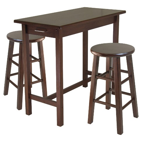 Piece Set Breakfast Table with Counter Stools Wood/Walnut - Winsome - image 1 of 1