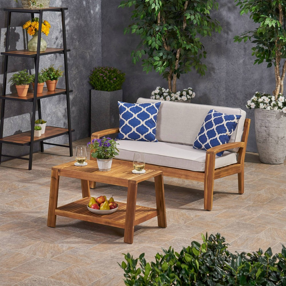 Image of 2pc Grenada Acacia Wood Patio Chat Set with Sunbrella Cushions Teak/Cream - Christopher Knight Home, Brown/Ivory